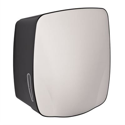 ABS paper towel dispenser in stainless steel front with black trim case