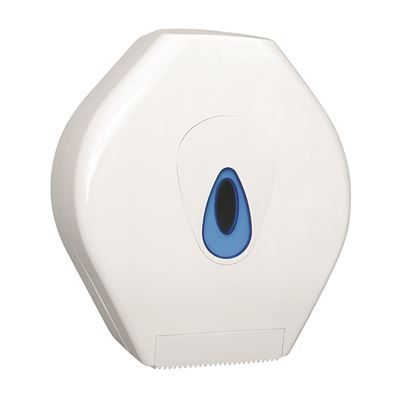 White jumbo toilet roll holder with blue viewing window