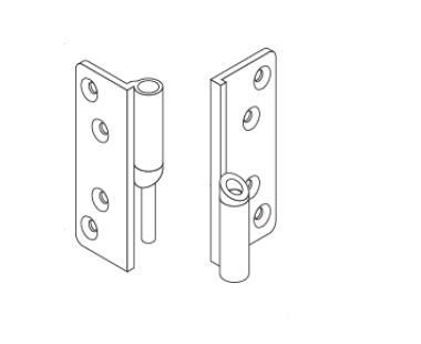 Satin Anodised Right Hand Outward Opening Door Hinge for Profiles Cubicles